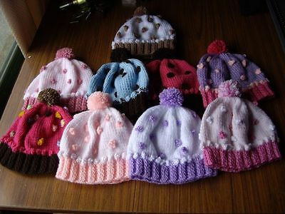 Baby Babies  Cupcake Hats.. Beanies..new Hand Knitted Size 3-6 Months Girls/boys