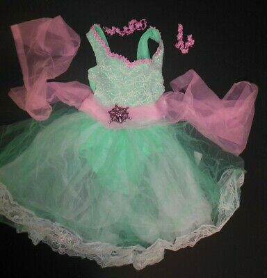 NWT mint green romantic length ballet costume brooch included child Sz Small 4-6