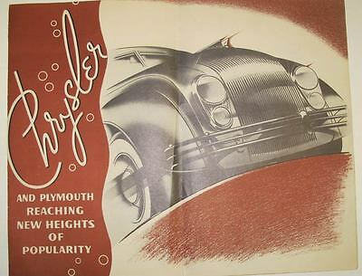 1934 Chrysler Airflow Plymouth Dealer Showroom Announcement Lrg Brochure wt4237