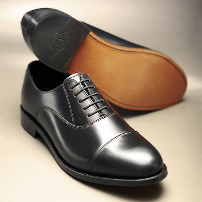 Samuel Windsor Shoes Classic Handmade Mens Black Leather Oxford Shoe Lace Up NEW