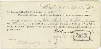 1863 SOLDIER'S WIFE PAYMENT STUB ~ Co. D 15th CONNECTICUT VOLUNTEERS~SUFFOLK VA.