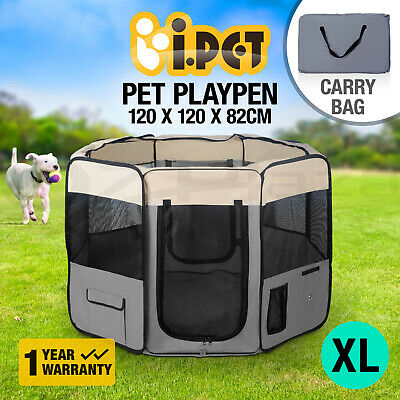 iPET Pet Soft Playpen Dog Cat Puppy Play Crate Cage Tent Portable Winter Grey XL
