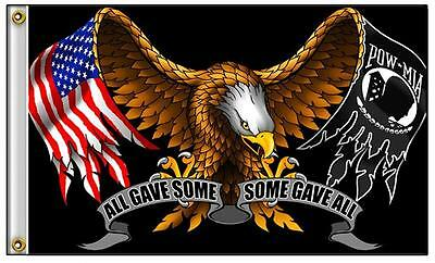 POW MIA ALL GAVE SOME / SOME GAVE ALL  AMERICAN EAGLE FLAG  novelty flag  3 X 5