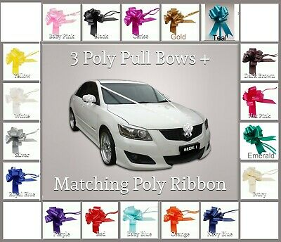 "Wedding Car Kit 3x Large 50mm Poly Pull Bows & 6 Metres 2"" Poly Ribbon"