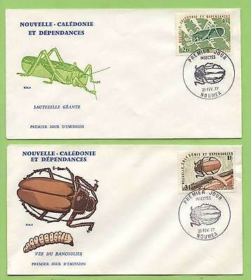 New Caledonia 1977 Insects set on two First Day Covers