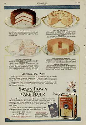 1920 SWANS DOWN CAKE FLOUR AD / SHOWING 4 CAKE RECIPES - EVENSVILLE, INDIANA