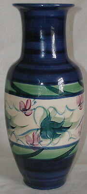 Gail Pittman Southern Potteries Large Vase-Hand Painted Lt Blue Grapevine