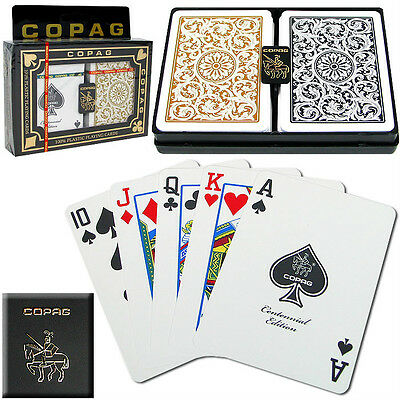 COPAG 1546 Plastic Playing Cards Poker Size Regular Index Gold Black Free Gift