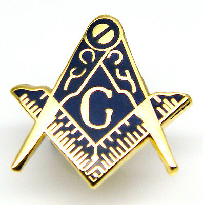 Masonic Square And Compass Craft Regalia Lapel Pin Badge In Free Gift Pouch