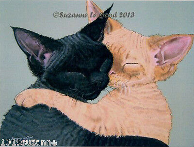 Large Ltd Edition  Devon Rex Cat Print From Original Painting By Suzanne Le Good