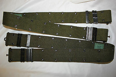 US Military Issue Vietnam Era Brass Buckle Pistol Belt USMC US ARMY ISSUE