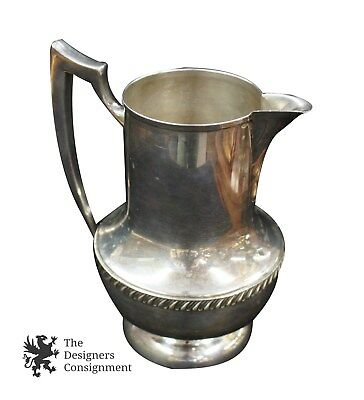 "1 Solid Antique National Silver On Copper Ornate Water Pitcher #6007 9.5"" Tall"