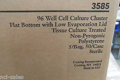 Case Of 50 Corning Costar 96 Well Flat Bottom Cell Culture Cluster Plates 3585