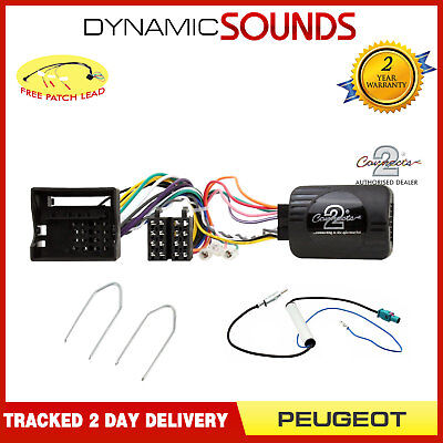 Car Stereo Double/Single Din Fitting Kit Stalk Control For Peugeot 308, 407