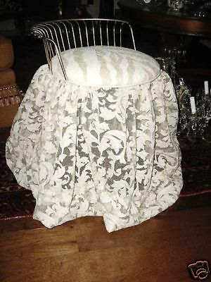 Hollywood Regency French Lace Brass Bed Chair Stool