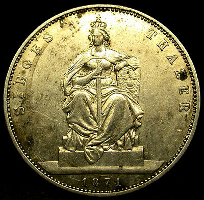 1871 A German States PRUSSIA SILVER SIEGES THALER WILHELM I Silver Coin RARE
