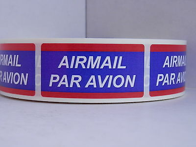 AIRMAIL PAR AVION USPS 1x2 Stickers Labels Mailing Shipping  250/roll