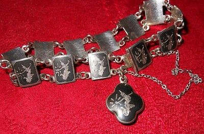 """Lovely Siam Silver Bracelet 12 Small Links 6"""" Goddess Design With Safety Chain"""