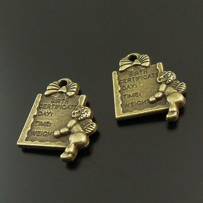 20X Antique Bronze Clocks Charm Pendant Beads Jewellery Findings 17mmx20mm GU590