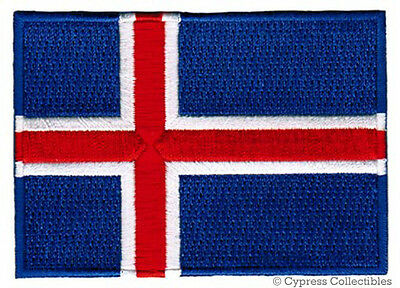 ICELAND FLAG embroidered iron-on PATCH ICELANDIC EMBLEM ICELANDER REPUBLIC new