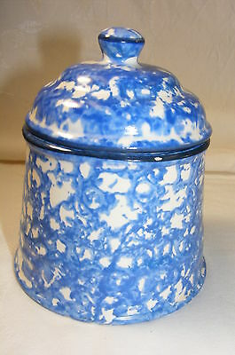 Vintage Pottery Stangl Blue Spongeware Town and Country Sugar Bowl with Lid