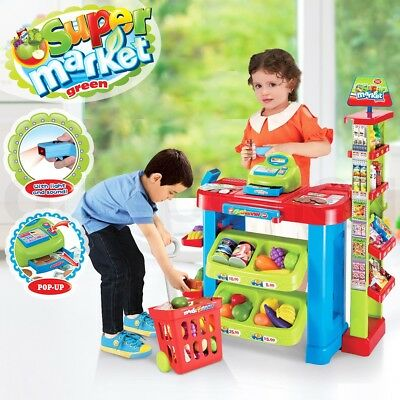 Kids Toys Supermarket Store Basket Shopping Trolley Child Role Pretend Play Set
