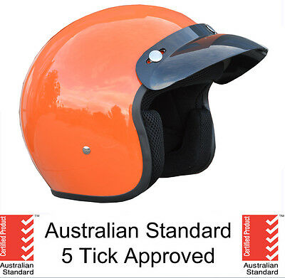 NEW SAFETY ORANGE OPEN FACE MOTORCYCLE HELMET ADULT HARLEY 5 tick approved OPEN