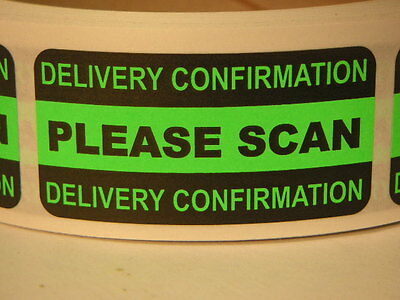 PLEASE SCAN International Reminder 1x2 Sticker Label Green Fluorescent 500/rl