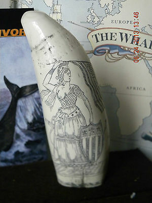 "Scrimshaw sperm whale tooth resin replica "" LADY LIBERTY"" 6&3/4 inches long"