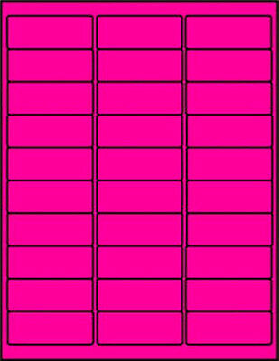 "3000 Laser Labels 1 x 2 5/8""  Fluorescent Pink 5160 Format 30/page"