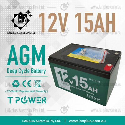 NEW 12V 15AH Deep Cycle AGM Battery 4 Electric Scooter eBike >12Ah 6FM12 6DZM12