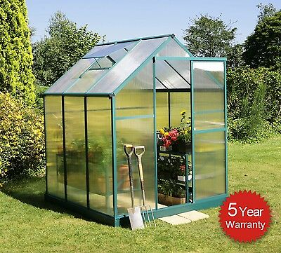 Lacewing Traditional Aluminium Greenhouse Polycarbonate Silver Green House Base