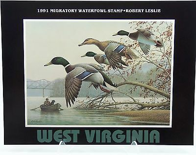 1991 West Virginia Duck Stamp Poster by Robert Leslie - Conservation Print