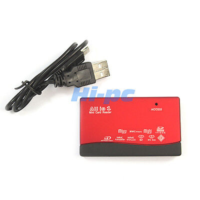 New Portable High Quality All in 1 USB SD/MMC Mini SD/MS/M2/XD Card Reader Red