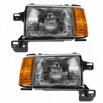 Chrome Headlights Headlamps Trim Bezel Pair Set for Bronco F150 Pickup Truck