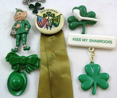 Celluoid Pinback w/Ribbon~4 Irish Plastic Pins~Sterling Shamrock Chained Necklac