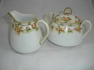 Antique Nippon Cream and Sugar Bowl w/Lid  Handpainted Flowers - Red Mark