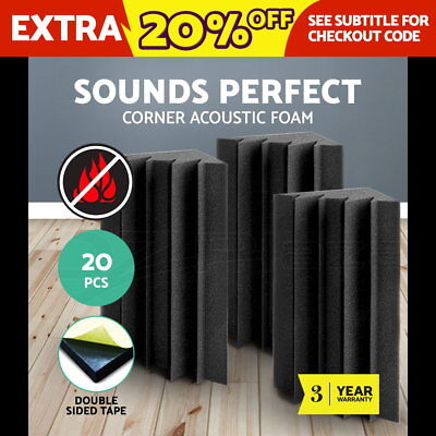10 x Studio Acoustic Foam Sound Absorption Panel Tile Treatment Eggshell 50x50cm