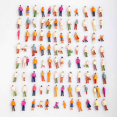 Mix Painted 1 Set of 100 Model Train People Figure Passengers 1:100 HO Scale Toy