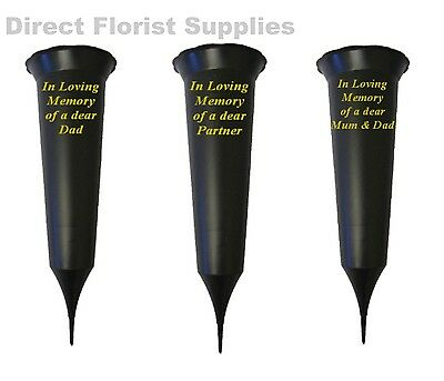 British Made Black Memorial Grave Spike Flower Vase Pot In Loving Memory Crem