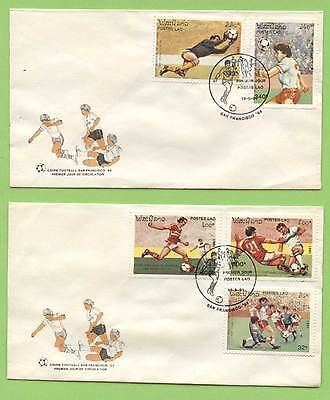 Laos 1991 World Cup set on two First Day Covers
