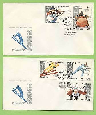 Laos 1991 Albertville Olympics set on two First Day Covers