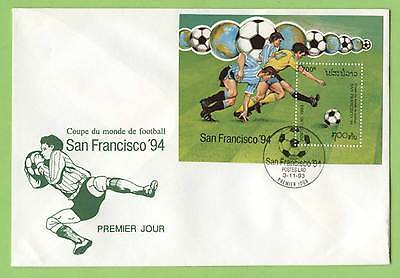 Laos 1993 World Cup Football miniature sheet First Day Cover