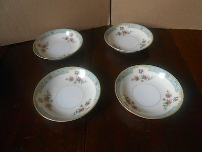 "4 Vintage Monarch China Rosaline Japan Floral Berry Bowls 5 1/2"" D"