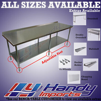 2134 x 762mm NEW 304 STAINLESS STEEL WORK BENCH KITCHEN FOOD PREP CATERING TABLE