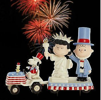 LENOX it's INDEPENDENCE DAY SNOOPY Peanuts NEW in BOX w/COA Charlie Brown Lucy