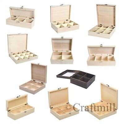 Plain wooden storage boxes, compartments - beads jewellery, tea, fishing tackle