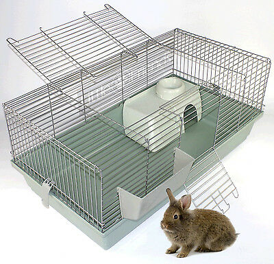 RABBIT GUINEA PIG INDOOR CAGE HUTCH 80cm 100cm 120cm 80 100 120 NEW BEIGE SILVER