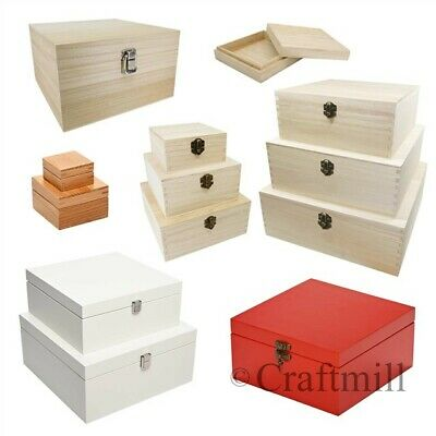Plain Wood Wooden Square Hinged Storage & Christmas Eve Boxes - choice of sizes
