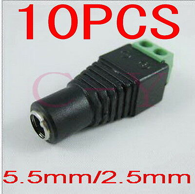 10pcs DC 5.5 x 2.5mm Power Female Jack Adapter Cable Plug Connector for CCTV